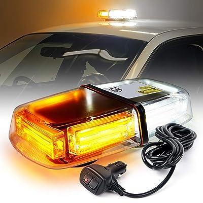 "Xprite 12"" Inch White Amber 60W COB LED Mini Strobe Flashing Lights Bar Safety Light w/Magnetic Base Mount for Emergency Law Enforcement Warning Hazard 12V Vehicles Trucks Snow Plow: Automotive"