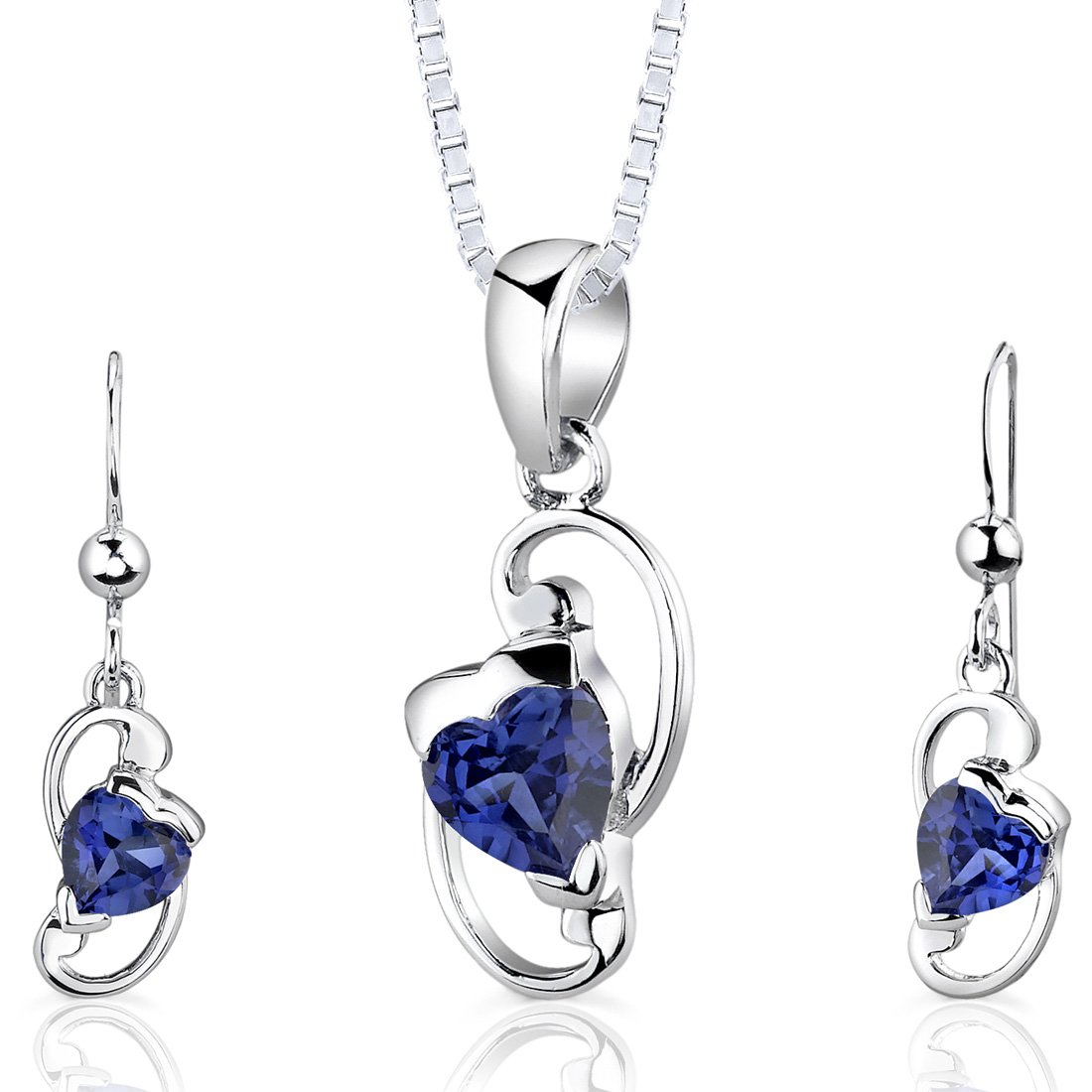 Created Sapphire Pendant Earrings Necklace Sterling Silver Heart Shape 2.00 Carats