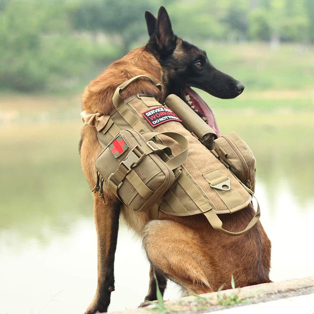 Brown Medium Brown Medium RIRUI Dog Vest, Tactical Dog Vest, 1050D US Standard Nylon Fabric Scratch-Resistant Wear-Resistant Cold And Heat-Resistant, User-Friendly Anti-Neck Design,Brown,M
