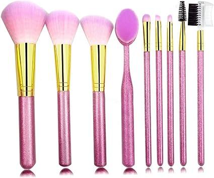 Allbestaye 9Pcs Juego de brochas de maquillaje rosa brillante con estuche de almacenamiento Pinceles Set Powder Brush Sombra de Ojos: Amazon.es: Belleza