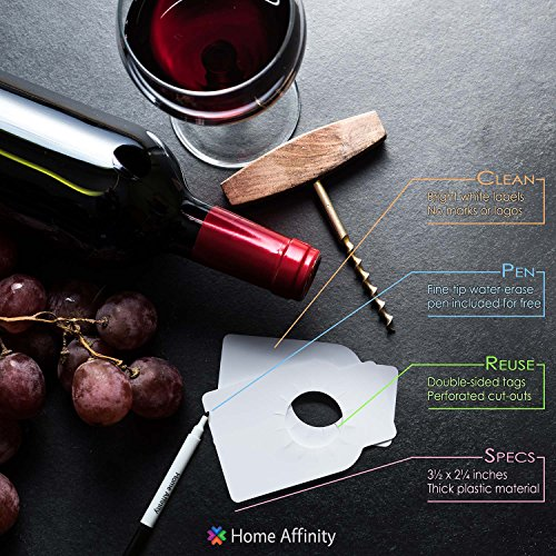 Plastic Reusable Wine Bottle Tags - 200 Count Plain Plastic Wine Cellar Labels by Home Affinity (White) by Home Affinity (Image #1)