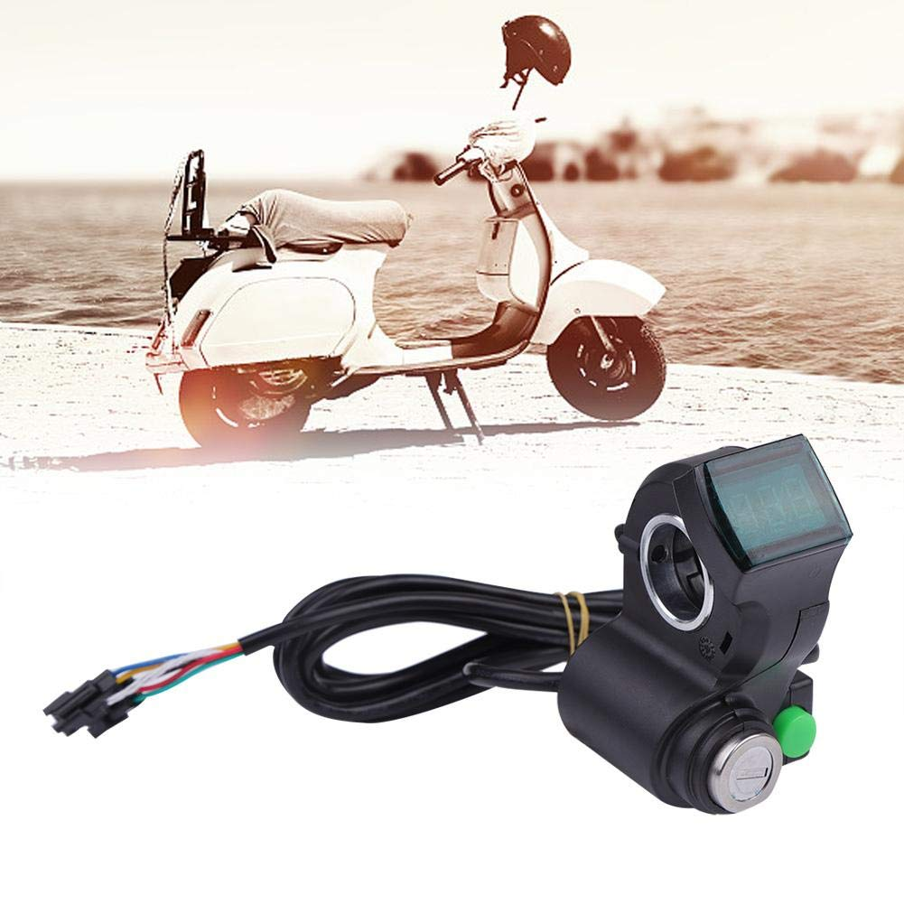 Scooter Horn Switch Voltage Display Handlebar Grips Voltmeter Thumb Accelerator with Key for E-Bike VGEBY Thumb Throttle