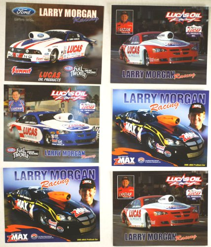 NHRA - Larry Morgan Racing - Pro Stock - Ford Mustang/Dodge Stratus R/T - Lucas Oil/Z Max/Summit - Full Throttle Series - 6 Promo Cards - Out of Print - - Pro Drag Stock Cars