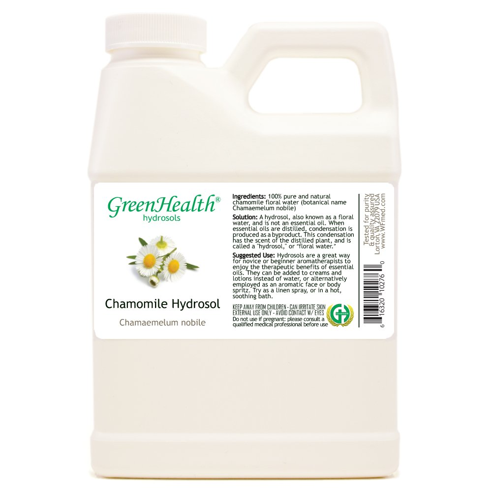 Chamomile Hydrosol - 32 fl oz Plastic Jug w/Cap - 100% pure, distilled from essential oil by GreenHealth
