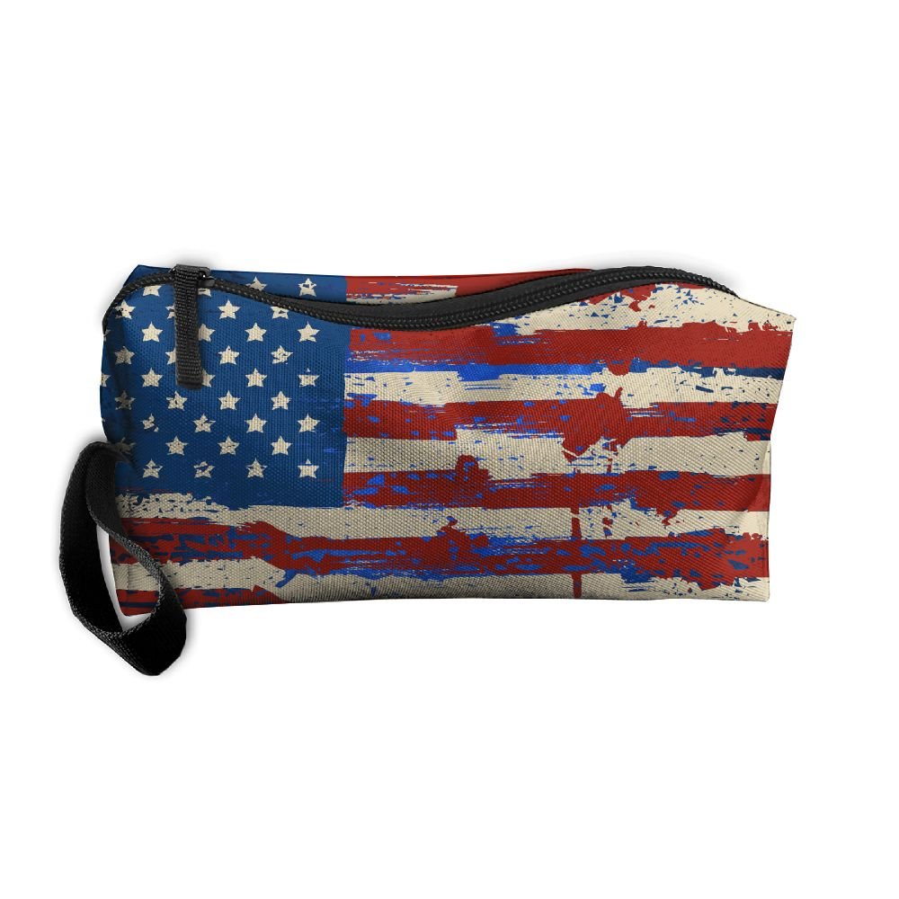 Jewelry Bags For Women Cosmetic Case With Zipper Wrestling American Flag Travel