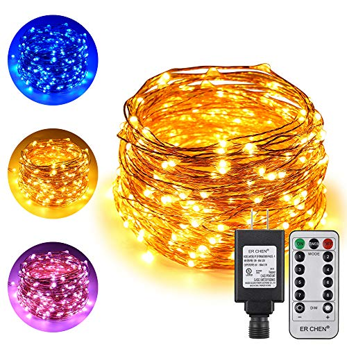 ErChen Dual-Color LED String Lights, 66 FT 200 LEDs Plug in Copper Wire Color Changing 8 Modes Dimmable Fairy Lights with Remote Timer for Indoor Outdoor Christmas (Blue/Warm White)