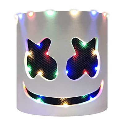 Haho DJ Mask Music Festival Helmet LED Glowing Lamp Beads Full Head Covered EVA Mask: Toys & Games