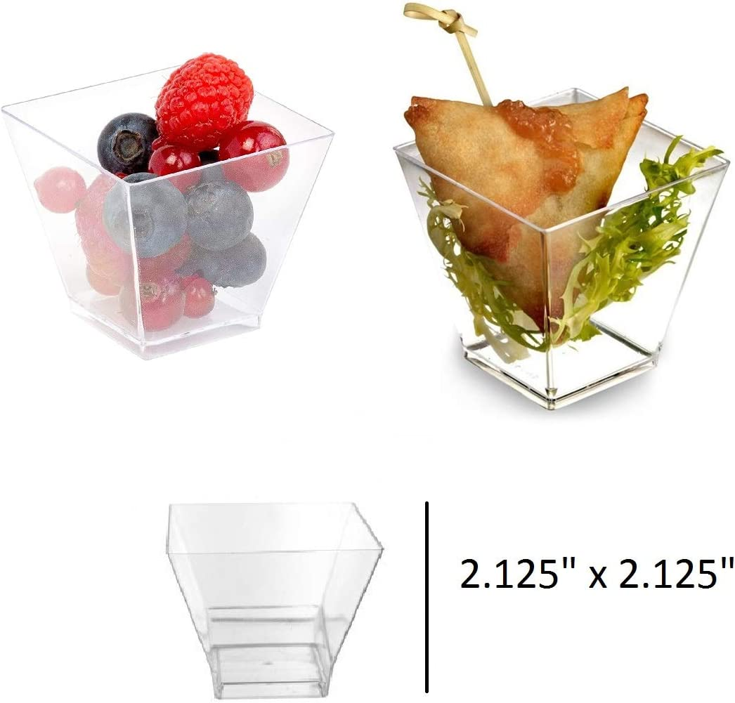 Plastic Mini Square Dessert Cups | Clear Mini Cube Small Reusable Serving Bowl for Tasting Party Desserts Appetizers Clear Appetizer Cup Pack of 24