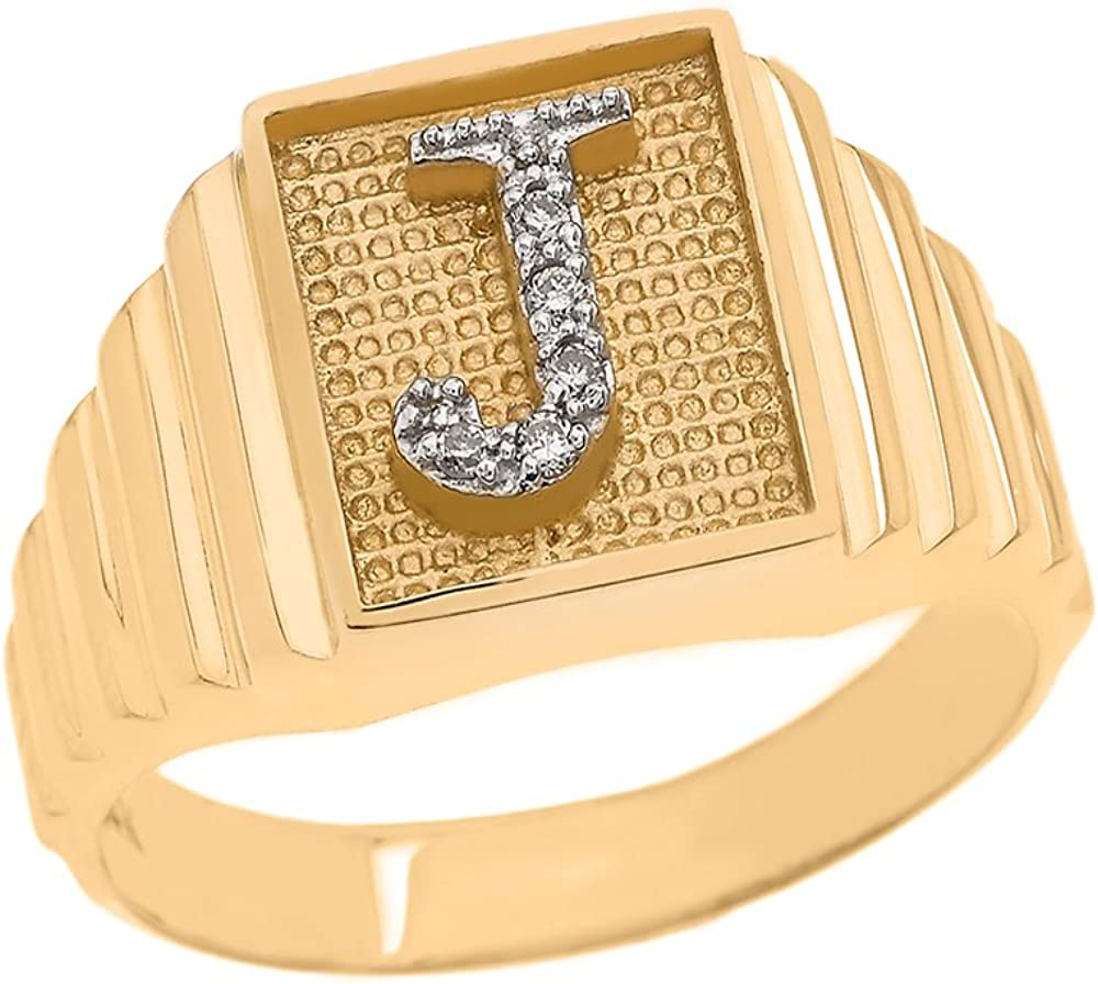 10k or 14k Two Tone Gold Unique Filigree Letter J Stylish Mens Initial Ring