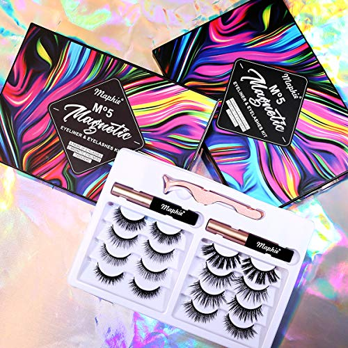Maphie Magnetic Eyelashes with Eyeliner Kits,8 Pairs Reusable Magnetic Eyelashes and a couple of Tubes Of Magnetic Eyeliner Kits,5D Natural Look Magnetic Lashes With Applicator