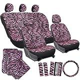 OxGord 21pc Zebra Car Seat Cover, Carpet Floor Mat, Steering Wheel Cover and Shoulder Pad Set - Universal Fit, Truck, SUV, or Van - Pink