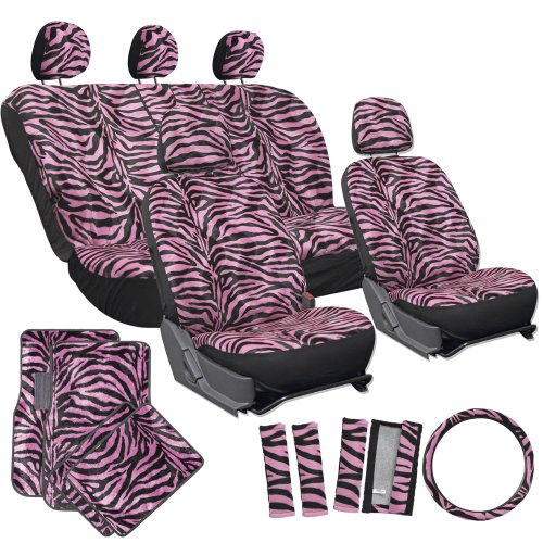 OxGord 21pc Zebra Car Seat Cover, Carpet Floor Mat, Steering