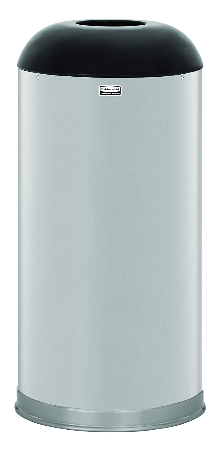Rubbermaid Commercial Open Top Round Trash Can with Galvanized Steel Liner, 15 Gallon, Stainless Steel, FGR32SSSGL