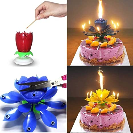 Moxing 4 Packs Romantic Music Birthday CandleHappy Flower Candles Amazonca Home Kitchen