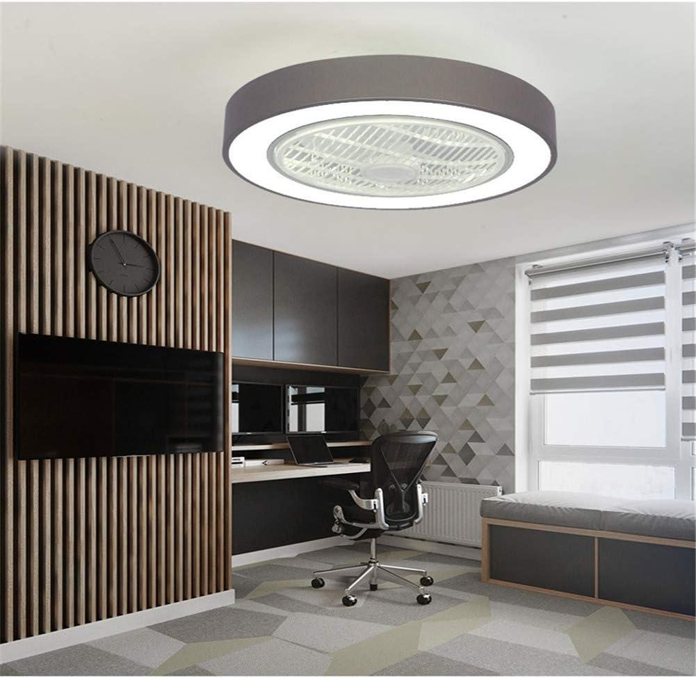 Eookall Deckenventilator, ultradünn, mit Fernbedienung, unsichtbar, leise, dimmbar, LED-Ventilator mit drei Geschwindigkeitsstufen, für Wohnzimmer und Schlafzimmer Schwarz Grau