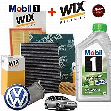 Kit Tagliando aceite Mobil 1 ESP 5 W30 5lt 4 filtros Wix: Amazon.es: Coche y moto