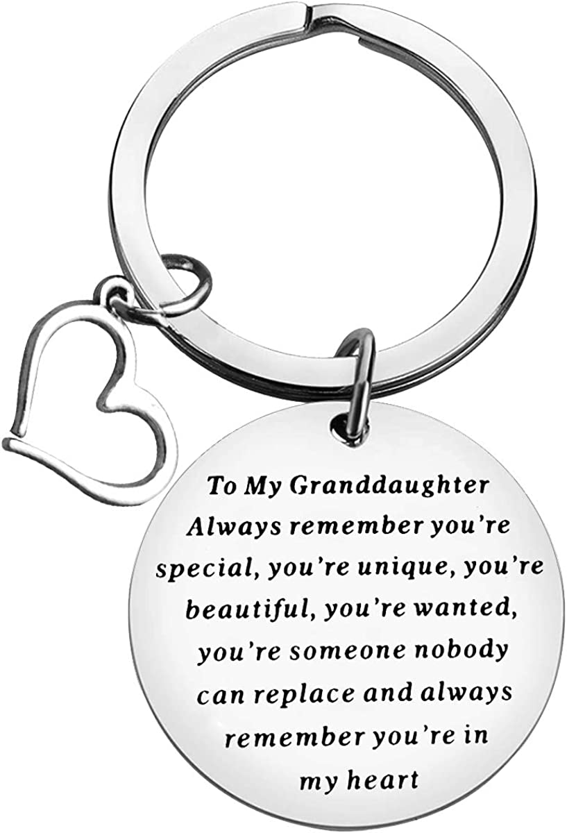 to My Granddaughter Keychain Inspirational Granddaughter Birthday Gifts Granddaughter Keyring Granddaughter Jewelry for Graduation Christmas Gifts from Grandpa Grandfather Grandma Grandmother
