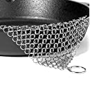 Blisstime Cast Iron Cleaner Stainless Steel Chainmail Scrubber, XL, 8x6-Inch