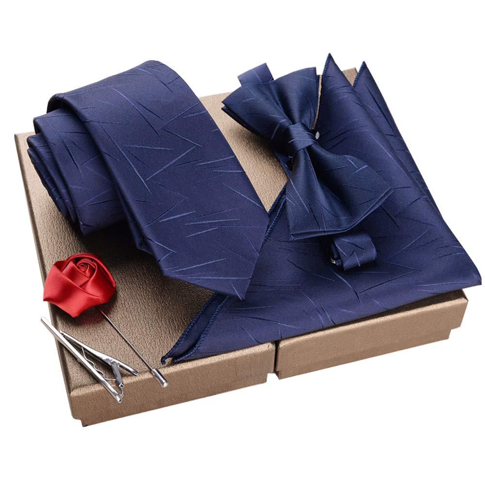 Lanburch Fashionable Premium Formal/Informal Ties Set, Necktie/Bow Tie/Pocket Square for Mens/Boys, Lightning Pattern Blue