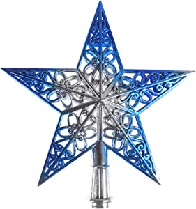TINKSKY Christmas Tree Top Sparkle Star Glittering Hanging Xmas Tree Topper Decoration Ornaments Home Decor (Silvery Blue)