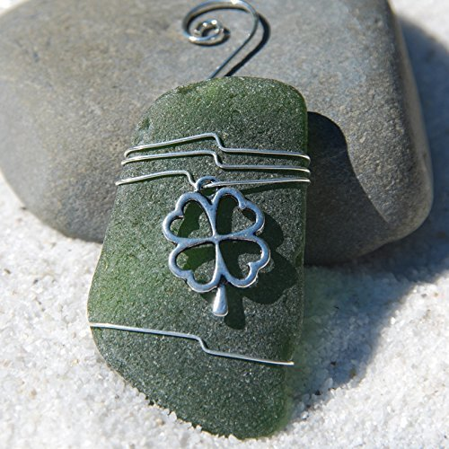 Custom Surf Tumbled Sea Glass Ornament with a Silver Four Leaf Clover Charm - Choose Your Color Sea Glass Frosted, Green, and Brown.