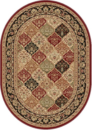 Universal Rugs 104770 Red 5x8 Oval Area Rug, 5-Feet 3-Inch by 7-Feet 3-Inch Oval