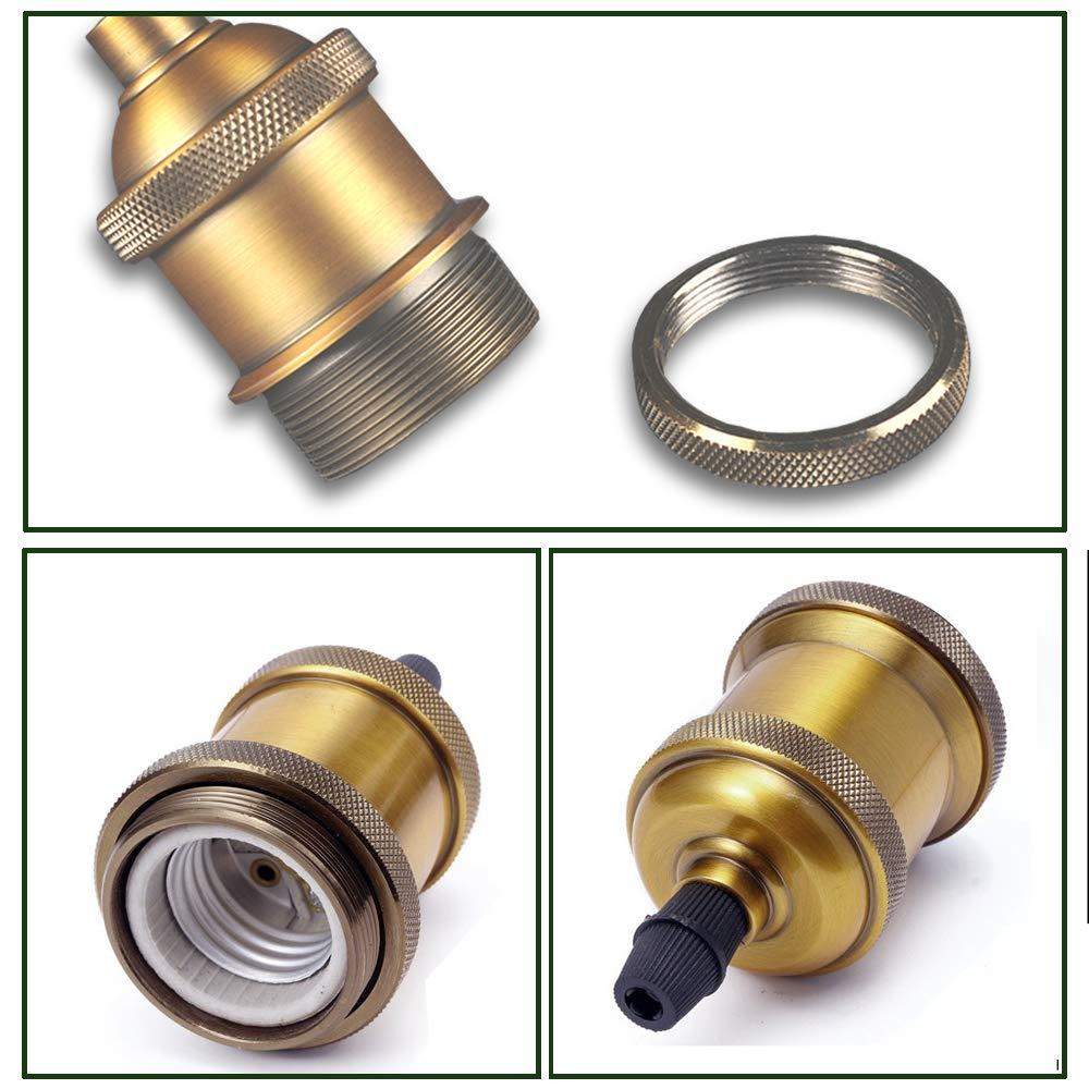 iDEGU 12x Douilles E27 Vingate Edison Douille de Lampe Vis Ampoule LED Adaptateur de Lampe pour Lustre Suspension DIY Laiton Antique