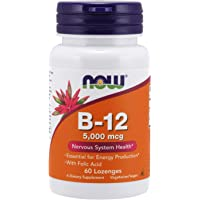 NOW Supplements, Vitamin B-12 5,000 mcg, With Folic Acid, Nervous System Health*, 60 Lozenges