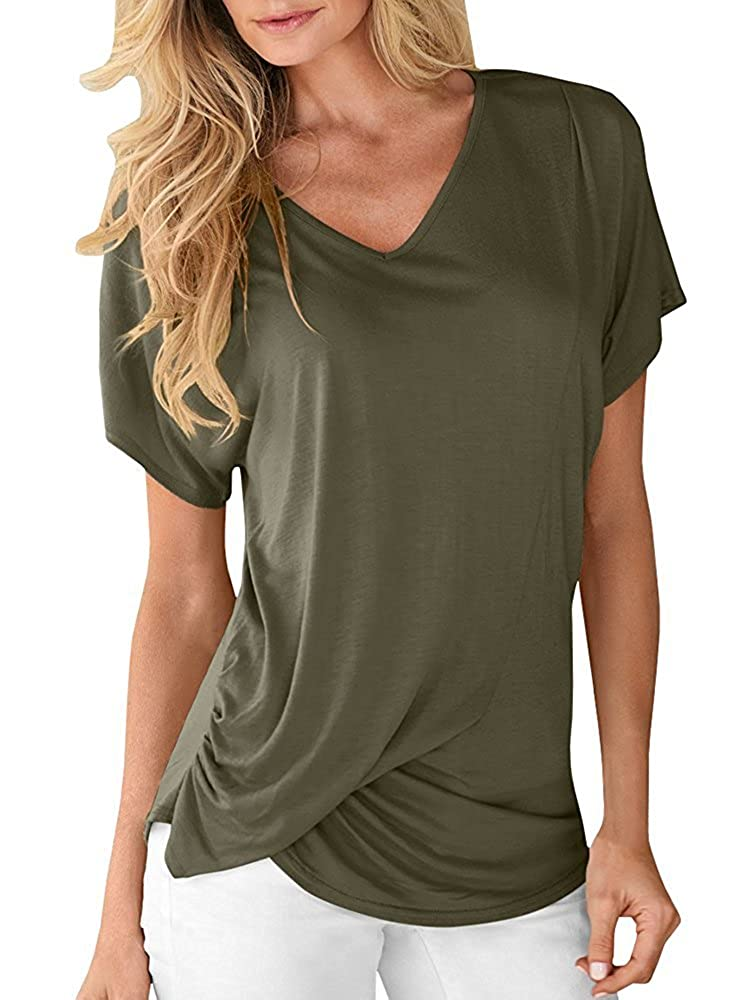a43d94500d8 ♥Features: V-neck, short bat sleeve, twist knot front, ruched hemline,  comfy and flattering tshirt. This shirt is alittle longer, you can choose  ...