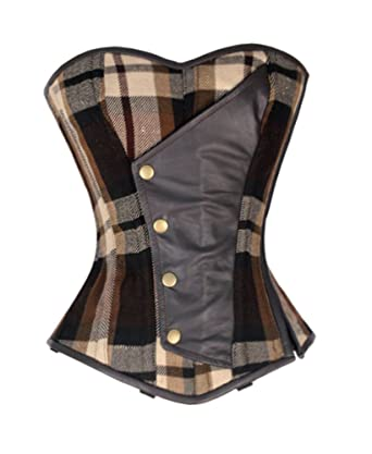 Heavy Duty 26 Double Steel Boned Waist Training Tartan Overbust Corset #8563-a Women's Clothing