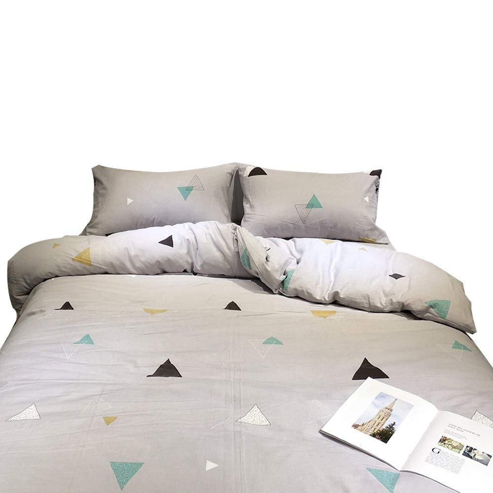 Auvoau Color Triangle Boys Girls Queen Duvet Cover Set Grey Cotton 100% Reversible Soft Twin-Fitted Sheet Size 3 Pieces Children Kids Teen Bedding Duvet Cover Set