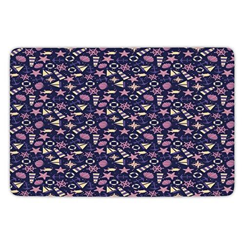 Bathroom Bath Rug Kitchen Floor Mat Carpet,Lighthouse,Abstract Shell Helms Boats Fish Aquatic Pattern Polka Dots Maritime Decorative,Dark Purple Pink Beige,Flannel Microfiber Non-slip Soft Absorbent -