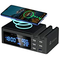 USB Charger Multiple with Induction Wireless Charger, 6 Ports Quick Charge 3.0 USB Plug Adapter Universal Power with LCD…
