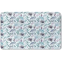 Memory Foam Bath Mat,Nautical,Various Sea Shell Pattern Underwater Bubbles Ocean Maritime PrintPlush Wanderlust Bathroom Decor Mat Rug Carpet with Anti-Slip Backing,Indigo Light Blue Purple
