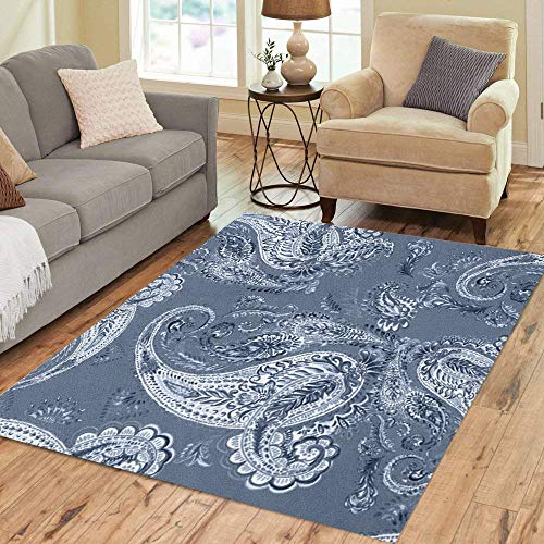 Pinbeam Area Rug Paisley Light Leafs Pattern Blue on Dark Watercolour Home Decor Floor Rug 3' x 5' Carpet