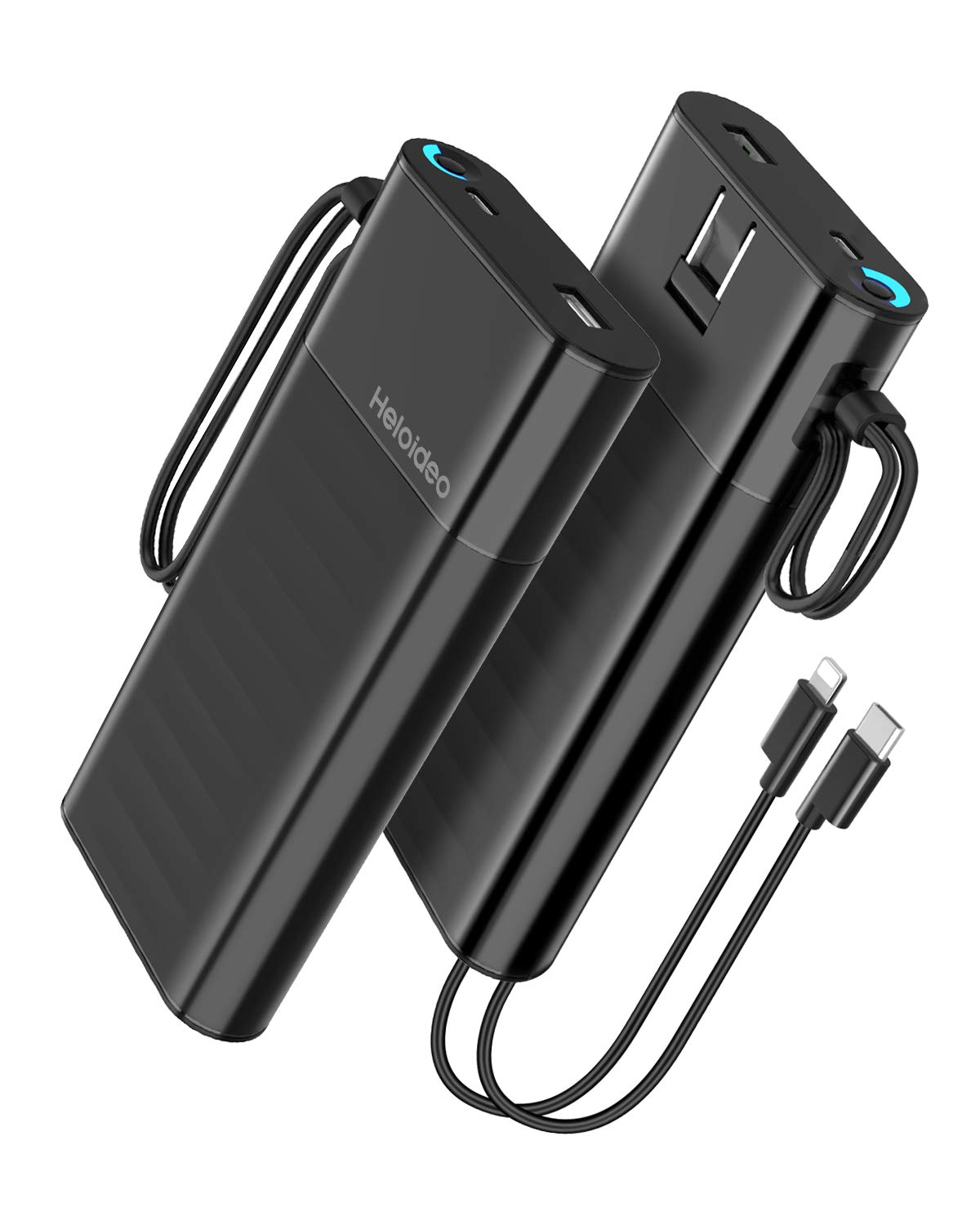 Heloideo 20000mAh Portable Power Bank External Battery Pack Charger Fast Charge QC3.0 PD 18W Total 5.1A 28.5W Built-in AC Wall Plug,Built in Cables Compatible iPhone Xs/XS Max / 8 / Plus, Pixel, by Heloideo