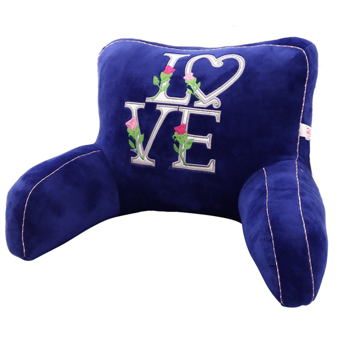 Adorable Blue Love Roses Lumbar Support Backrest Pillow Waist Seat Back Cushion Pillow in Home Office School Car