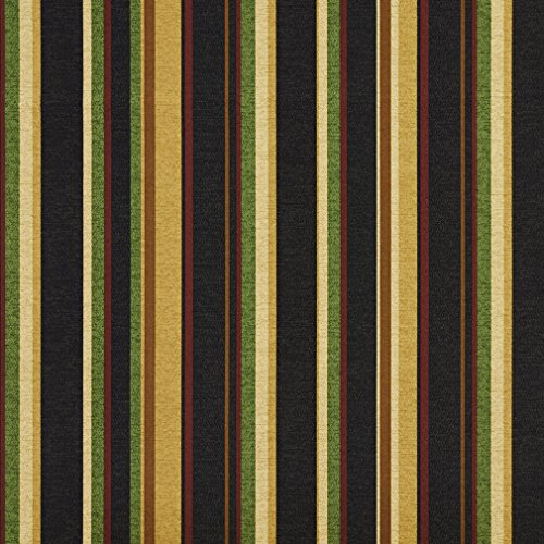 Venice Stripe Black Dark Green Gold Yellow Stripe Denim Duck Twill Outdoor and Indoor Print Upholstery Fabric by the yard (Stripe Denim Fabric)
