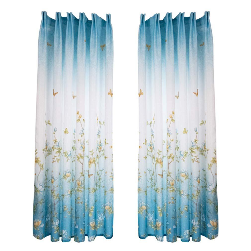 B 200 Jixing Schmetterlingsdruck T/üll Voile Gardinenverkleidung Verdunkelungsvorh/änge T/ür Fenster Balkon f/ür Kinder Kinder Schlafzimmer Wohnzimmer 100 cm L blau