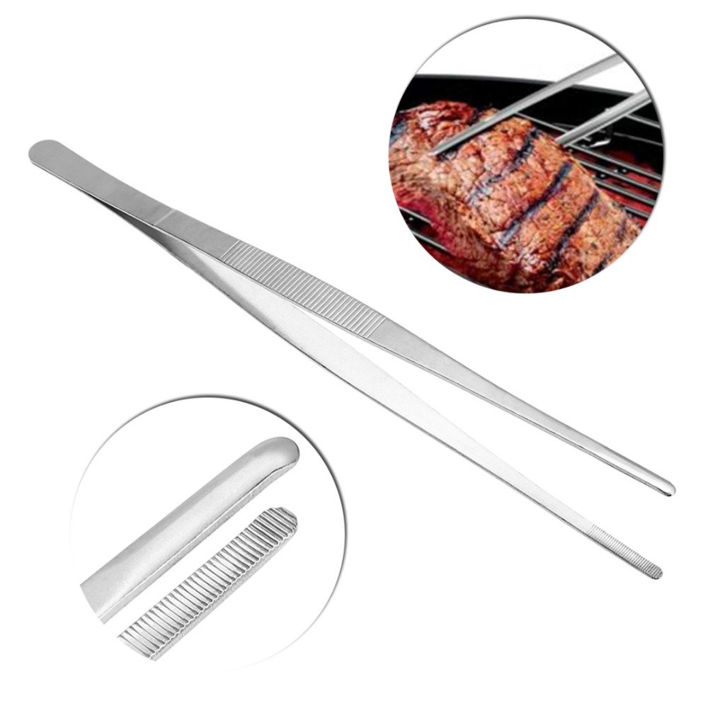 Autumn Water Barbecue Tongs Food Tongs Clip Kitchen Stainless Steel Long Straight Tweezers Barbecue Buffet Kitchen Tool BBQ Accessory