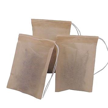 Means - Bolsas de filtro de té desechables con cordón para té de hojas sueltas (
