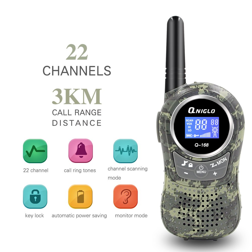 Qniglo Kids Walkie Talkies 2 Way Radio 3 Miles Long Range 22 Channels Walkie Talkies Kids Outdoor Camping Toys Gifts Boys Girls (Camouflage Green) by Qniglo (Image #5)