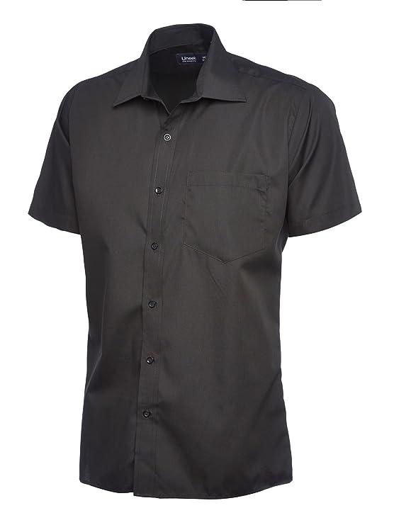 Herren Popeline Half Sleeve Shirt Casual Formale Business Arbeit Uniform  Sicherheit UC710 [schwarz] [2 x l]: Amazon.de: Bekleidung