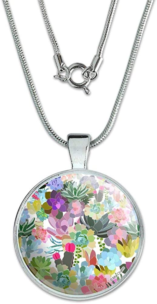 GRAPHICS /& MORE Succulents Oasis Pattern 1 Pendant with Sterling Silver Plated Chain