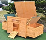 """Omitree New 69"""" Wood Hen Chicken Duck poultry Hutch House Coop Cage with 4 nesting boxes"""