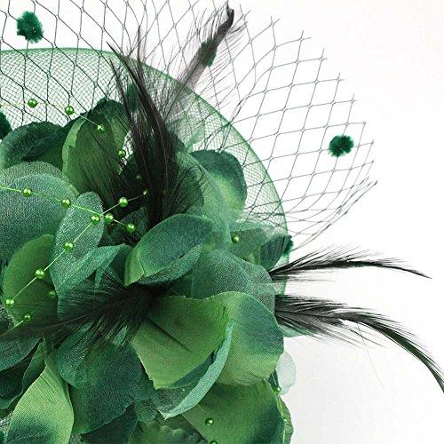 d10c7c5dcc68 ACTLATI Charming Big Flower Headband Netting Mesh Hair Band Cocktail Hat  Party Girls Women Fascinator Deep Green