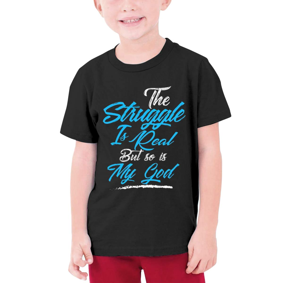 Alffe The?Struggle?is?Real?BUT?SO?is?GOD T-Shirt Boy Kids O-Neck 3D Printing Youth Fashion Tops
