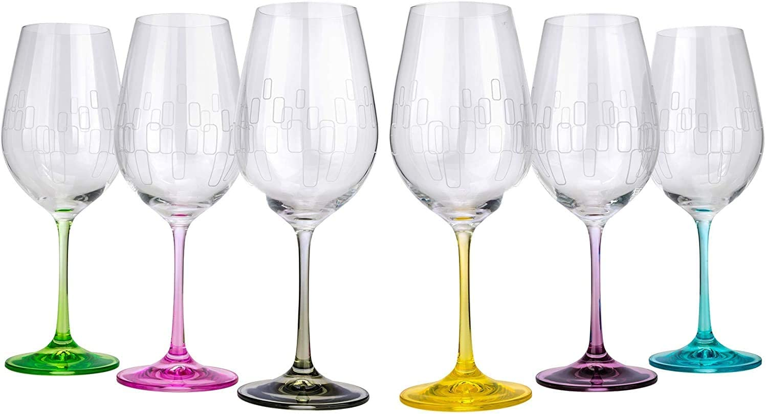 Amazon Com Bohemia Crystal Wine Water Glasses Multi Colored Engraved Rainbow Set Of 6 Each Base Different Color No Lead Drinkware Wine Glasses