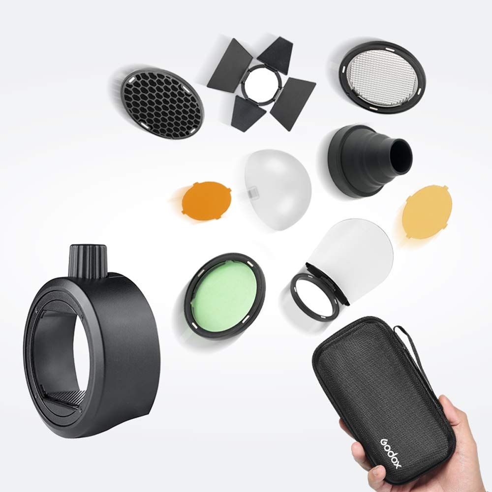 Godox S-R1 and AK-R1 Flash Speedlight Adapter Barn Door, Snoot, Color Filter, Reflector, Honeycomb, Diffuser Ball Kits for Godox Canon Nikon Sony Fuji Pentax Speedligt Flash