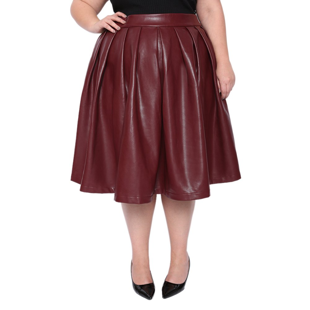 Astra Signature Women's Basic Versatile Flare Pleated Midi Quill Red Leather Skater Skirt (22W, Burgundy)